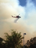A water-dropping helicopter helps quickly extinguish  the small brush fire at Harbor Regional Park in September 2013 Photo courtesy of Erin Auerbach