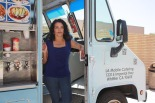 Anna Garcia of LA Mobile Catering stands in her food truck, which was parked on campus in April Photo by Charles D. Contla