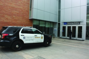 Sheriff car at the Technology building photo by Gabriel Islas